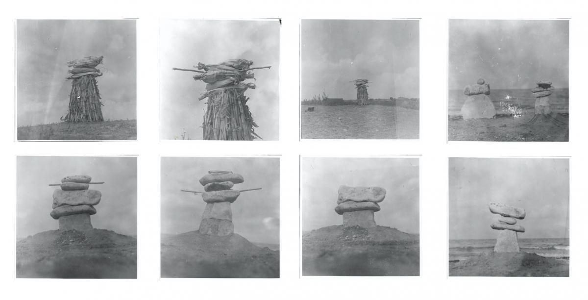 Simona Runcan, The Principles ofEquilibrium,1980s,bw photographs oftemporary constructions from stone, wood, sand, plants, made by the artist at Vama Veche, Romanian seaside attheBlack Sea